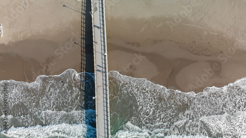 Pier on the mediterranean sea, view from the air © jovannig