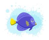Marine life tropical colorful fish set illustration in cartoon.