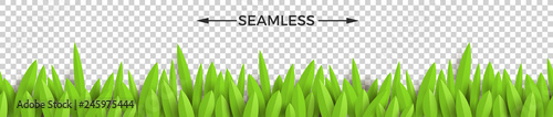 Green paper grass on a checkered background. Horizontal seamless design. Vector illustration. - 245975444