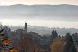 Panoramic view of a village from the woods in its autumn garment - 245981892