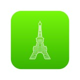 Eiffel tower icon green vector isolated on white background