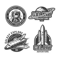 Vintage monochrome space labels