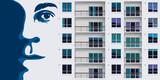 Street art avec une peinture murale représentant un portrait géant sur un mur d'immeuble de banlieue - 246005019