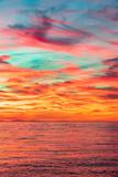 Magnifique coucher de soleil d'hiver sur la côte basque