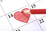 Valentine day calendar with red heart and pencil - 246015601