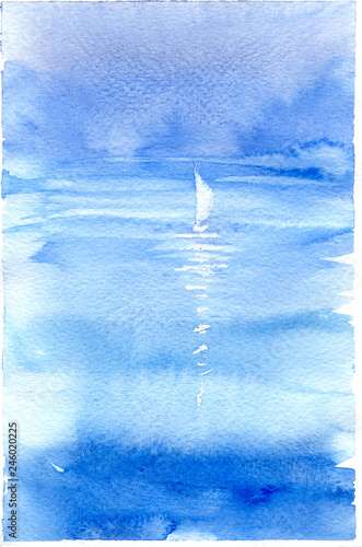 Watercolor illustration with sea, sailboat and yachting. Hand drawn picture about sailing, seaside landscape. Blue painted background, wallpaper with white boat. Banner in watercolor style. © Marina Andrejchenko