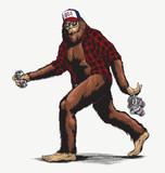 Walking USA American hillbilly Sasquatch vector illustration in full color - Vector - 246026047