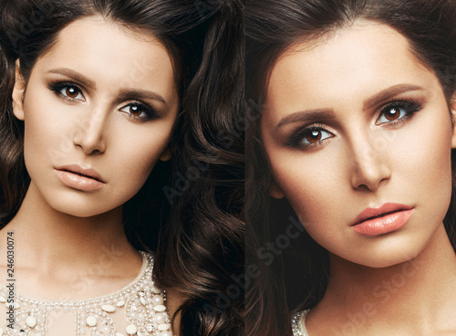 Portrait of brunette wearing in shine dress, with wavy hair, perfect skin after beauty salon. Professionally haircut and evening makeup. Beautiful girl holding hands on stomach. Gray background.
