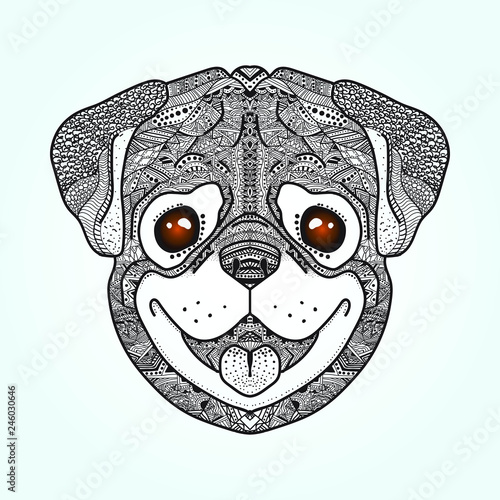 Dog pug.Graphics Handmade. Coloring page. Ligjt blue background. Line drawing. Logotype. Tatto sketch.