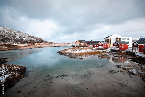 Foto Murales Winterlandschaft Fjord in Norwegen