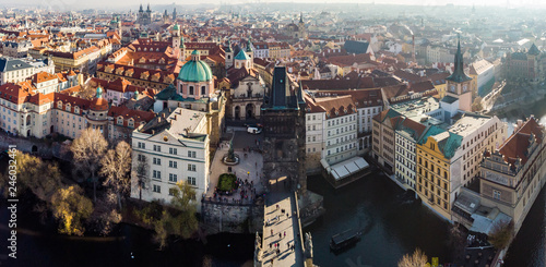 Aerial drone view Prague, Czech Republic. Charles Bridge (Karluv Most) Old Town Tower Vltava river Panorama