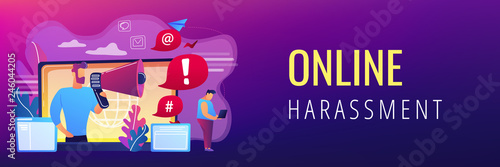 Target individual with laptop attacked online by user with megaphone. Internet shaming, online harassment, cyber crime action concept. Header or footer banner template with copy space.
