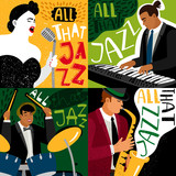 Banners jazz band play on musical instruments. Vector concert musical, banner and poster illustration