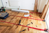 House renovation with changing of the floor from carpets to soli