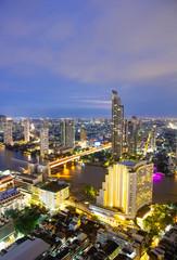 Bangkok city skyline - Cityscape with Chao Phraya River in Thailand