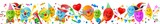 Bunte Luftballons mit lustigen Gesichtern, Konfetti und Fasching Accessoires - Banner - 246063498