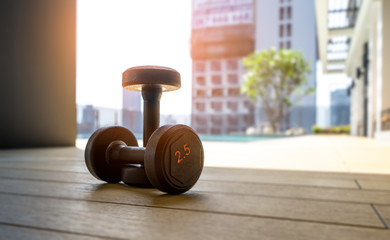 Dumbbell in clubhouse wait for exercise at the morning