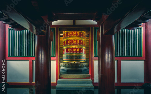 Large Prayer Wheel at Buddha's Relic Tooth Temple in Singapore