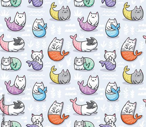 fototapeta na ścianę Seamless pattern with cats mermaid in kawaii style. Vector illustration
