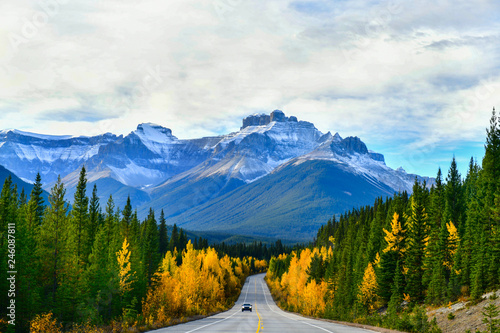 "Leinwandbild Motiv The road 93 beautiful ""Icefield Parkway"" in Autumn Jasper National park,Canada"