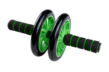 green wheel for fitness, training of abdominal muscles and back muscles, AB wheel, Workout Fitness Exercise Roller isolated © aneduard