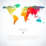 Simple colorful vector template of global world map with modern triangle pattern. Cool infographic template on isolate white background - 246108819