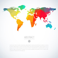 Simple colorful vector template of global world map with modern triangle pattern. Cool infographic template on isolate white background