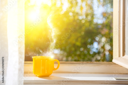 Leinwanddruck Bild Good morning! Cup on the window with sun