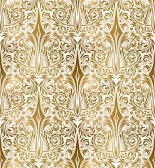 Golden white vintage seamless pattern. Gold royal classic baroque wallpaper. Arabic background ornament. © vectordivider