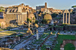 Rome in the evening, view of the forums and the Colosseum, HDR