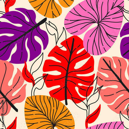 Tropical seamless pattern with exotic monstera leaves © maria_galybina