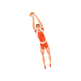 Volleyball Player with Ball, Male Athlete Character in Sports Uniform, Active Sport Healthy Lifestyle Vector Illustration