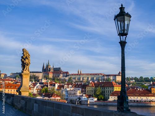 Prague city view from the bridge