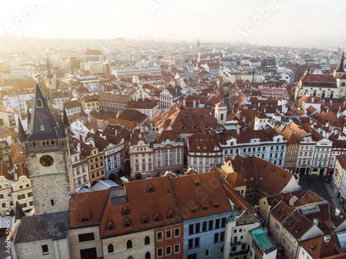fototapeta na ścianę Aerial drone view Prague Old Town Square Czech Republic Church of Our Lady Before Tyn