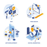 Modern Flat Isometric designed concept icons for Seo, Web Design, Apps Development and Digital Marketing. Can be used for Web Project and Applications. Vector Illustration - 246139208