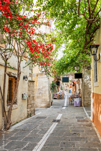 Pedestrian street in the old town of Rethymno in Crete, Greece