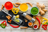 Ingredients for a colorful pepper soup. - 246144830