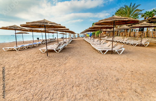 Morning at sandy beach of Eilat - famous tourist resort resort and recreational city in Israel.