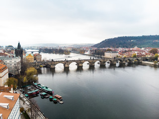 Aerial drone view Prague, Czech Republic. Charles Bridge (Karluv Most) Old Town Tower Vltava river
