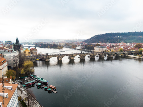 Aerial drone view Prague, Czech Republic. Charles Bridge (Karluv Most) Old Town Tower Vltava river - 246154092