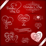 set of vintage decorative elements for valentines day with festive inscriptions on red background