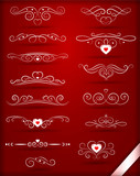 set of vintage decorative patterns for valentines day on red background