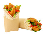 Southern fried chicken fillets and salad in wholemeal tortilla wraps isolated on a white background - 246159841