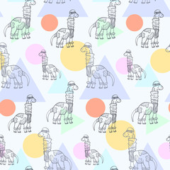 Cute cartoon seamless pattern with outline doodle diplodocus with scarf, boots and hat and geometric shapes. Childish dinosaur sketch texture for kids textile, wrapping paper, surface, cover