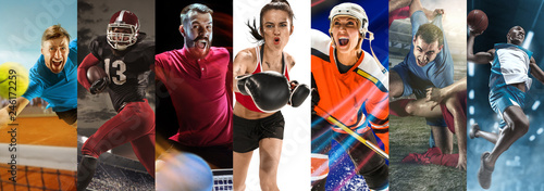 Leinwandbild Motiv Attack. Sport collage about soccer, american football, table tennis, boxing, ice hockey, tennis and basketball players in motion. Adult athletes in action