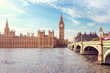 Big Ben, the Houses of Parliament and Westminster Bridge in London