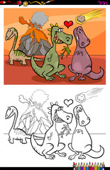 dinos in love cartoon color book