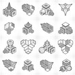 Abstract three dimensional shapes set, vector designs. - 246192686