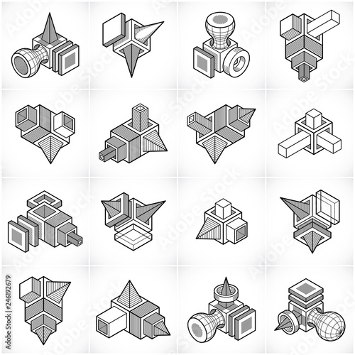 Isometric abstract vector shapes set. - 246192679