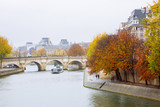 PARIS, FRANCE - NOVEMBER 10, 2018 - Autumn is the most romantic season ti visit Paris. Here the spectacle of Pont Neuf and the river Seine